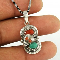 Big Weaving Light ! 925 Sterling Silver Tibet Coral, Turquoise Boho Pendant