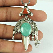 Natural Coral Turquoise Gemstone 925 Sterling Silver Pendant Afghan Jewellery