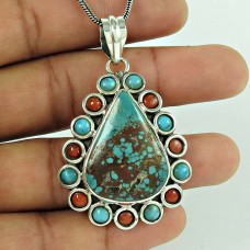 Excellent !! 925 Sterling Silver Tibet Coral, Turquoise Bohemian Pendant