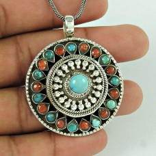 The One 925 Sterling Silver Tibet Turquoise, Coral Pendant