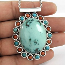 Pale Beauty!! 925 Sterling Silver Tibet Coral, Turquoise Pendant