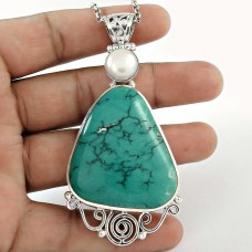 Sterling Silver Bohemian Jewellery High Polish Turquoise, Pearl Cross Pendant Supplier