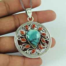 Big Dreamer ! Tibet Coral, Turquoise 925 Sterling Silver Pendant
