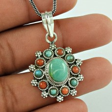 Trendy 925 Sterling Silver Coral & Turquoise Gemstone Pendant Tibet Jewellery