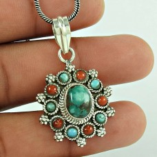 Vintage Jewellery 925 Sterling Silver Coral & Turquoise Gemstone Boho Pendant