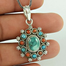 925 Sterling Silver Tibet Coral & Turquoise Gemstone Pendant Afghan Jewellery