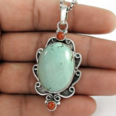 Jumbo Fantastic 925 Sterling Silver Tibet Coral, Turquoise Pendant