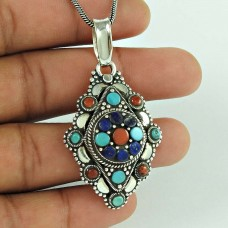 Gorgeous!! 925 Sterling Silver Coral, Turquoise, Lapis Pendant Bohemian Jewellery