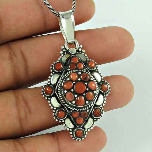 925 Sterling Silver Jewellery Fashion Coral Bohemian Pendant Exporter
