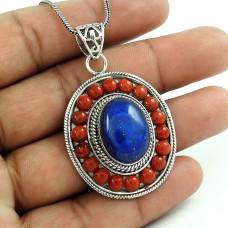 Precious Style Bohemian 925 Sterling Silver Tibet Coral, Lapis Pendant