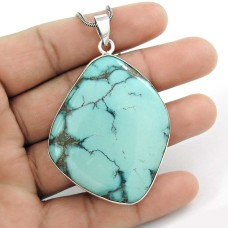 Kiss!! 925 Sterling Silver Turquoise Pendant