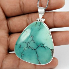 Very Light!! 925 Sterling Silver Turquoise Pendant