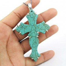 Paradise Bloom 925 Sterling Silver Turquoise Cross Pendant