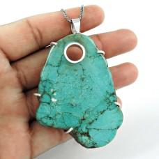 Trendy 925 Sterling Silver Turquoise Gemstone Pendant Jewellery