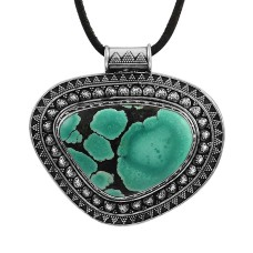 Passion !! 925 Sterling Silver Tibetan Turquoise Bohemian Pendant