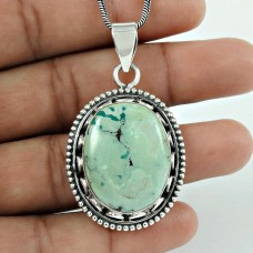 Designer 925 Sterling Silver Turquoise Gemstone Pendant Traditional Jewellery