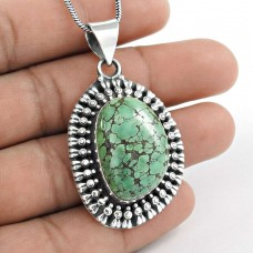 Billowing Clouds ! Turquoise 925 Sterling Silver Pendant
