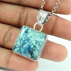 Rare 925 Sterling Silver Azurite Gemstone Pendant Ethnic Jewellery