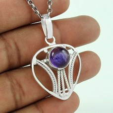 Big True Emotion! Amethyst 925 Sterling Silver Pendant