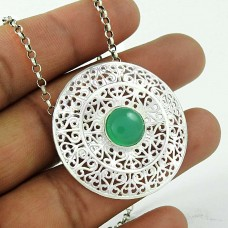 New Fashion Green Onyx Gemstone Silver Pendant Jewellery Wholesale
