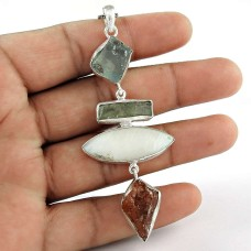 Big Amazing ! 925 Sterling Silver Sunstone, Mothr of Pearl, Aquamarine, Kyanite Pendant