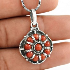 Clinquant! Coral 925 Sterling Silver Pendant