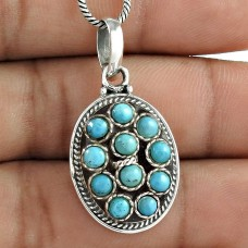 Colour Changing Tibet Turquoise 925 Sterling Silver Bohemian Pendant Exporter