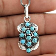 Gorgeous Design Bohemian 925 Sterling Silver Tibet Turquoise Pendant