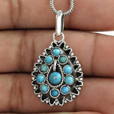 Tibetan Turquoise 925 Sterling Silver Bohemian Pendant Manufacturer