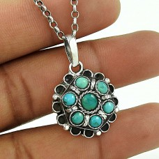 Vintage Style !! Tibetan Turquoise 925 Sterling Silver Boho Pendant
