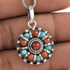 Awesome!! Tibetan Coral, Turquoise Pendant 925 Sterling Silver Bohemian Jewellery