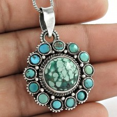 My Sweet!! Bohemian 925 Sterling Silver Turquoise Pendant