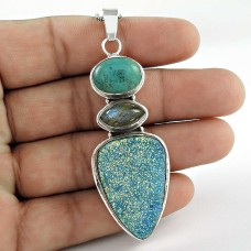 Classy Style! Druzy, Labradorite, Turquoise 925 Sterling Silver Pendant