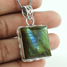 Daily Wear 925 Sterling Silver Labradorite Gemstone Pendant Jewellery