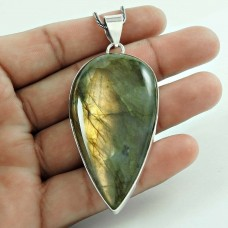 Charming 925 Sterling Silver Labradorite Gemstone Pendant Vintage Jewellery