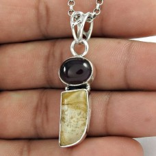 925 Sterling Silver Antique Jewellery Traditional Picture Jasper, Amethyst Gemstone Pendant De gros