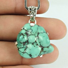 Fashion Turquoise Gemstone 925 Sterling Silver Pendant Jewellery