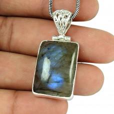 Perfect Labradorite Gemstone 925 Sterling Silver Pendant Jewellery