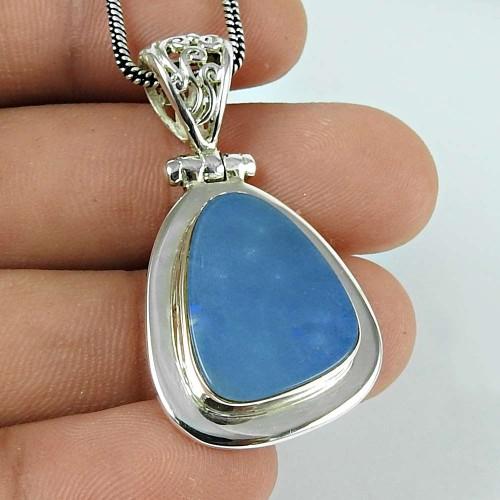 Seemly Opal Gemstone 925 Sterling Silver Pendant Jewellery