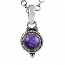 Natural Beauty! 925 Sterling Silver Amethyst Charm Pendant
