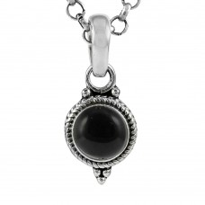 Perfect! 925 Sterling Silver Black Onyx Charm Pendant