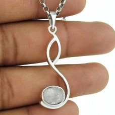 Misty Morning ! 925 Sterling Silver Druzy Pendant