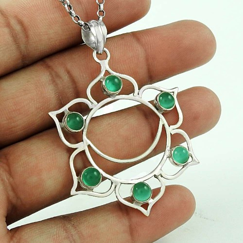 Hot Style 925 Sterling Silver Green Onyx Pendant