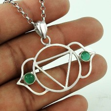 Amazing!! 925 Sterling Silver Green Onyx Pendant