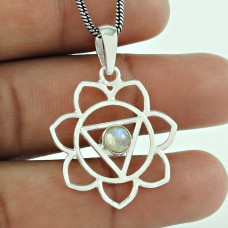 Classy Design !! 925 Sterling Silver Rainbow Moon Stone Pendant