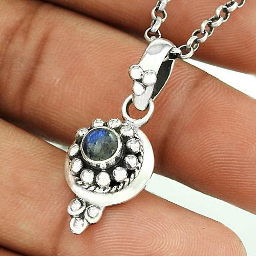 Modern Design Rainbow Moonstone Silver Pendant Jewellery