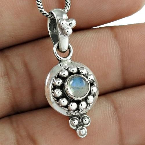 Paradise Bloom Rainbow Moonstone Silver Pendant Jewellery