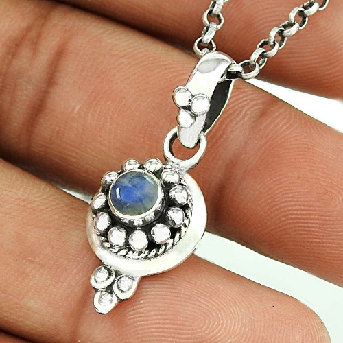 Very Light Rainbow Moonstone Silver Pendant Jewellery