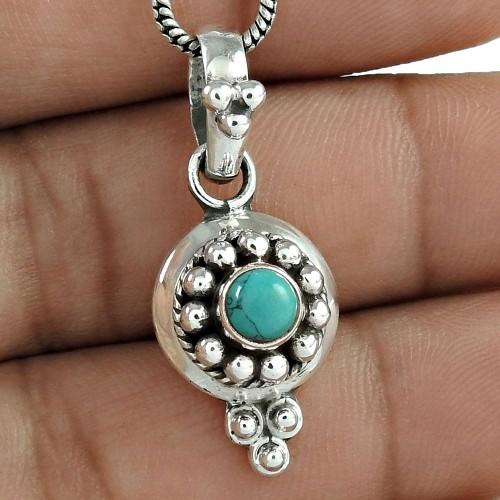 Amazing Turquoise Gemstone Silver Pendant Jewellery