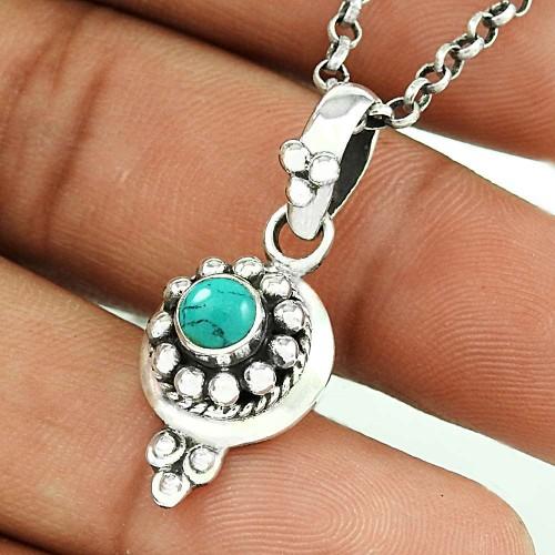 Enjoyable Turquoise Gemstone Silver Pendant Jewellery